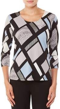 Allison Daley 3/4 Sleeve Abstract Geo Print Knit Top