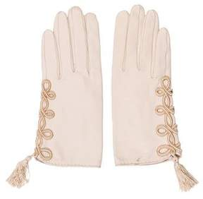 Hermes Embroidered Leather Gloves