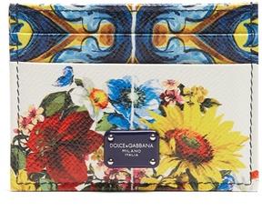 Dolce & Gabbana Majolica-print leather cardholder - MULTI - STYLE