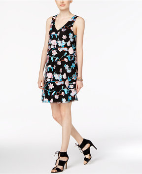 ECI Embroidered Mesh-Overlay Dress