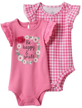 Baby Starters Baby Girl 2-pk. Graphic & Gingham Bodysuits
