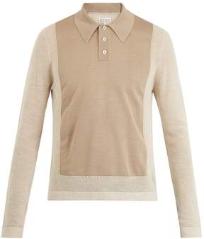 Maison Margiela Contrast-panel wool-blend polo shirt