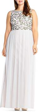 Adrianna Papell Plus Beaded Layered-Look Gown
