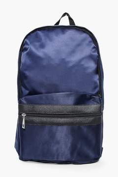 boohoo Navy Nylon Backpack With Contrast Trim