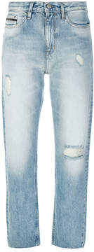 CK Calvin Klein distressed cropped jeans