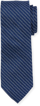 Neiman Marcus Boxed Striped Silk Tie, Navy