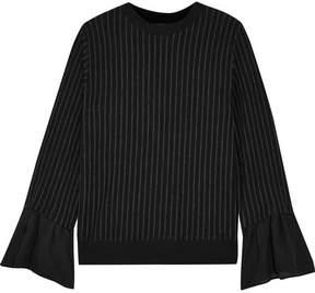 Clu Silk-trimmed Pinstriped Cotton-blend Jersey Top - Black