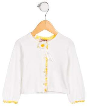 MonnaLisa Girls' Daisy-Trimmed Long Sleeve Cardigan w/ Tags