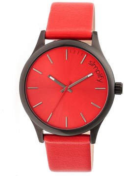 Simplify Mens The 2400 Red Dial Leather-Band Watch SIM2405
