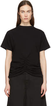 Carven Black Lace-Up Ruched Detail T-Shirt