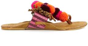 Figue Salome fringed pompom suede sandals
