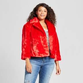 Ava & Viv Women's Plus Size Faux Fur Jacket Red