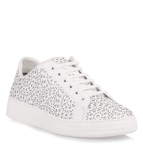 Alaia White leather laser-cut sneaker