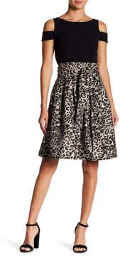 Eliza J Cold Shoulder Contrast Skirt Dress