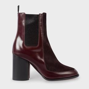 Paul Smith Women's Bordeaux Leather And Calf Hair 'Deva' Boots