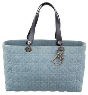 Christian Dior Denim Quilted Cannage Lady Tote