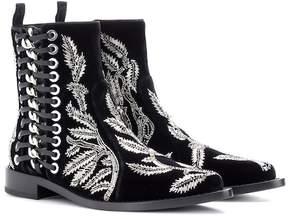 Alexander McQueen Braided Chain velvet ankle boots