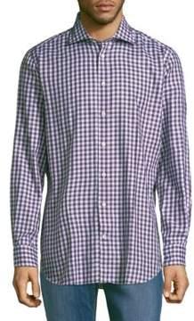 Luciano Barbera Gingham Cotton Button-Down Shirt