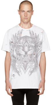 Balmain White Oversized Tiger T-Shirt