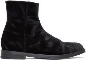 Ann Demeulemeester Black Velvet Boots