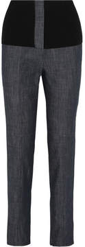 Tibi Camille Ribbed Jersey-trimmed High-rise Straight-leg Jeans - Dark denim
