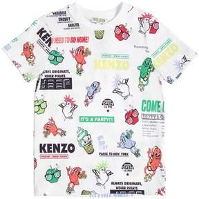 Kenzo Logo Party Printed Cotton Jersey T-Shirt