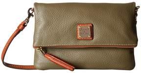 Dooney & Bourke Pebble Fold-Over Zip Crossbody Cross Body Handbags - BLACK W/ TAN TRIM - STYLE