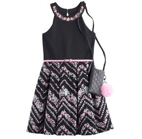 Knitworks Girls 7-16 & Plus Size Belted Flower Skater Dress with Crossbody Purse