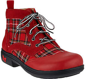 Alegria As Is Leather Plaid Lace-up Ankle Boots - Kylie