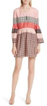 Derek Lam 10 Crosby Ruffled Sleeve Print Silk Minidress