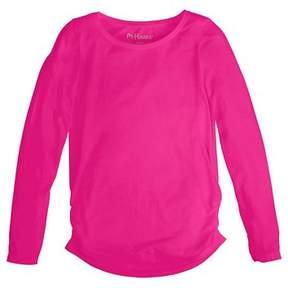 Hanes Girls' Shirred Solid Long-Sleeve Tee