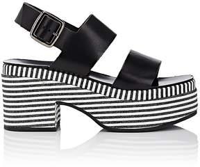 Barneys New York Women's Striped-Platform Leather Slingback Sandals