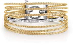 Alor 18K White Gold, Yellow Gold and Stainless Steel Yellow Cable 0.32ct Diamond Bangle