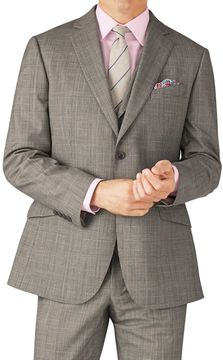 Charles Tyrwhitt Grey Prince Of Wales Check Classic Fit Panama Business Suit Wool Jacket Size 36