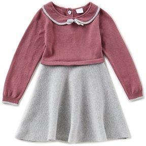 Edgehill Collection Little Girls 2T-4T Sweater-Knit Colorblock Dress