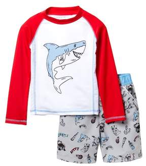 Andy & Evan Shark Rash Guard Top & Swim Shorts Set (Toddler Boys)