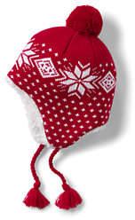 Lands' End Boys Patterned Peruvian Knit Hat-Bright Cardinal Fairisle