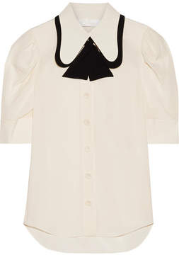 Chloé Two-tone Silk Crepe De Chine Blouse - Ivory
