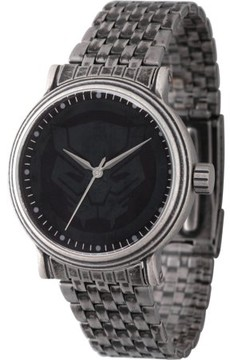 Marvel Classic Black Panther Men's' Antique Silver Alloy Vintage Watch, Antique Silver Stainless Steel Bracelet