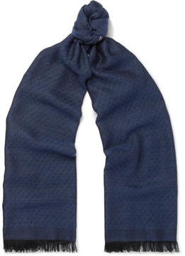 Isaia Fringed Cashmere And Silk-Blend Jacquard Scarf
