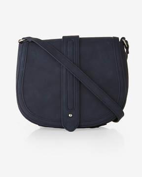 Express Faux Suede Trapunto Stitch Crossbody Saddle Bag