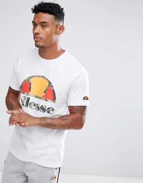 Ellesse T-Shirt With Large Camo Logo In White