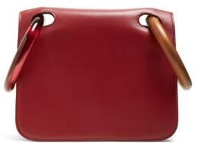 Roksanda Neneh Wooden Handle Leather Clutch - Womens - Burgundy Multi
