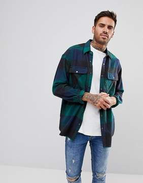 Pull&Bear Oversized Flannel Check Shirt In Green