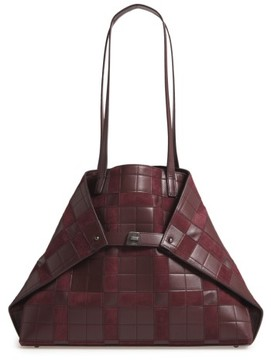 Akris Medium Ai Leather Shoulder Tote - Burgundy