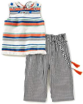 Rare Editions Little Girls 2T-6X Horizontal-Stripe Top & Vertical-Stripe Pant Set