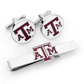 Ice Texas A&M Aggies Cufflinks and Tie Bar Gift Set