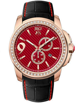 Jivago Gliese Mens Red Dial Black Leather Strap Watch