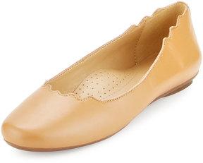 Neiman Marcus Seva Scalloped Leather Flat, Camel