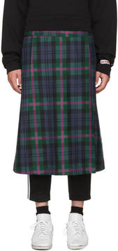 Palm Angels Multicolor Plaid Logo Kilt